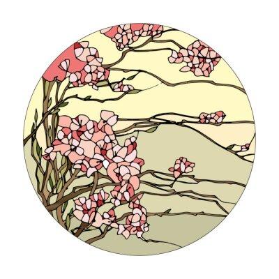 Sticker Glasfenster mit Sakura