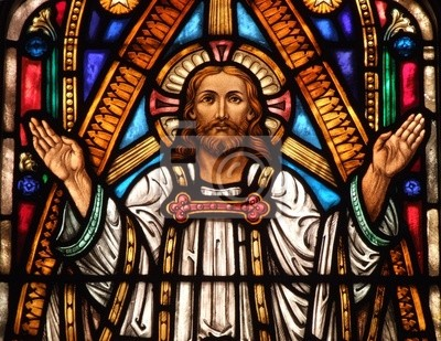 Sticker Glasfenster von Jesus mit seinen Händen