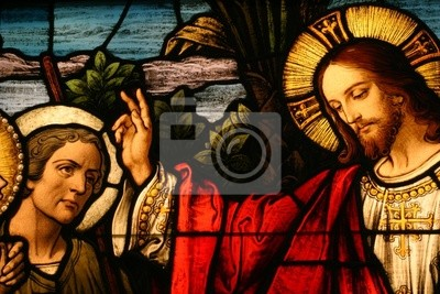 Sticker Glasmalerei Vorführung Jesus Segen ein Mann