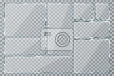 Sticker Glasplatte auf transparentem Hintergrund gesetzt. Klare Glasvitrine. Realistische Fenster-Mockup-Sammlung