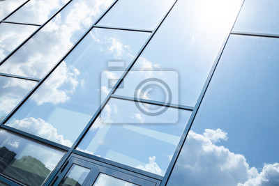 Sticker Glass building facade with blue sky reflection