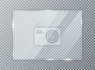 Sticker Glass plate on transparent background. Acrylic and glass texture with glares and light. Realistic transparent glass window in rectangle frame