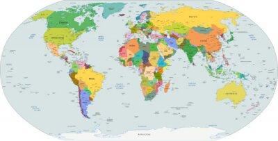 Sticker Globale politische Karte der Welt, Vektor