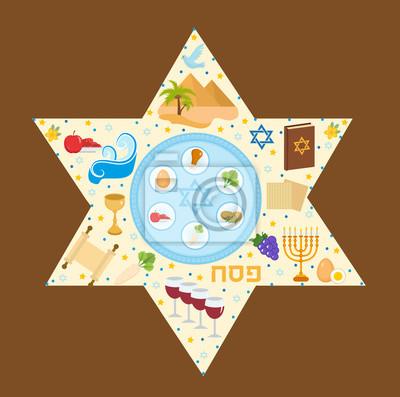 Glückliche passah grußkarte mit torus, menorah, wein, matzoh ...