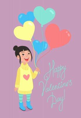Glücklicher Valentinstag-Grußkartenentwurf. Kleines Mädchen hält eine Reihe von herzförmigen bunten Luftballons.