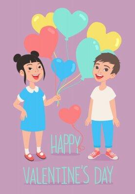Glücklicher Valentinstag-Grußkartenentwurf. Nette Kinder, die einen Haufen herzförmiger bunter Ballons halten.