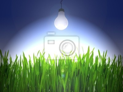 Glühbirne leuchten über eine grüne Gras