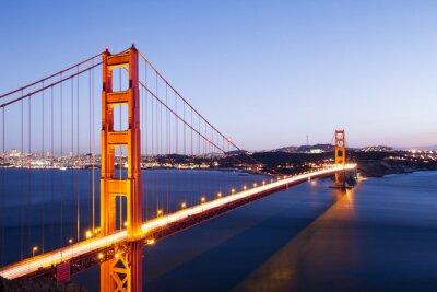 Sticker Gold-Gate-Brücke in blauen Himmel im Morgengrauen