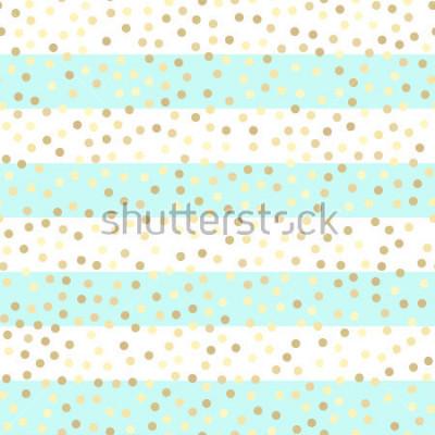 Sticker Gold glitzernde Tropfen auf türkisfarbenen und weißen Streifen. Nahtloses Vektormuster auf gestreiftem Minze- und Goldhintergrund. Glänzender Feiertagshintergrund. Goldenes Glitzermuster. Gold Metallf