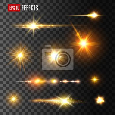 Sticker Gold Licht Blitz oder Stern Glanz Licht Vektor Symbole