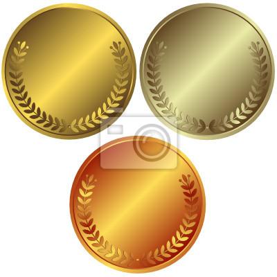 Gold-, Silber-und Bronzemedaillen (Vektor)