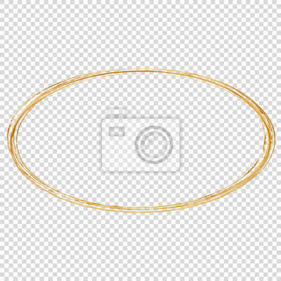 Sticker golden oval frame isolated on transparent background