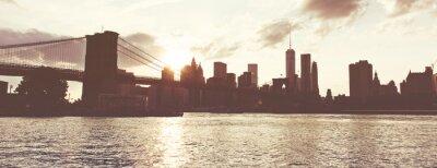 Sticker Golden Sunset über Manhattan Skyline, NYC, USA