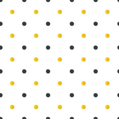 Sticker Golden und schwarz Tupfen nahtlose Muster Hintergrund.