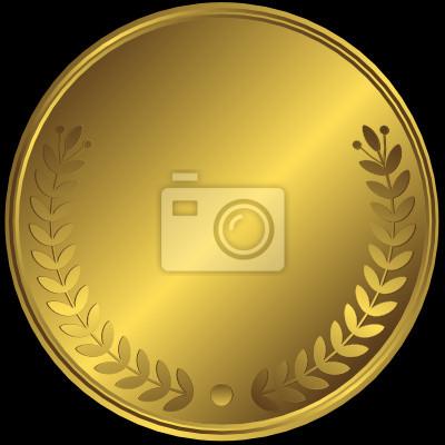 Goldene Medaille auf schwarzem Hintergrund (Vektor)