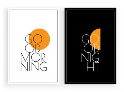 Good morning good night, vector. Minimalist poster design, Scandinavian wall art,vector. Two pieces art decor, black and white poster design. Sun and moon illustration. Day and night, contrast