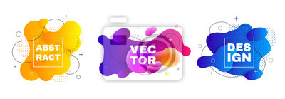Sticker Gradient geometric banners with flowing liquid shapes. Dynamic Fluid design.