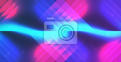 Sticker Gradient neon shape abstract background vector illustration eps 10. Blue and pink light geometric design.