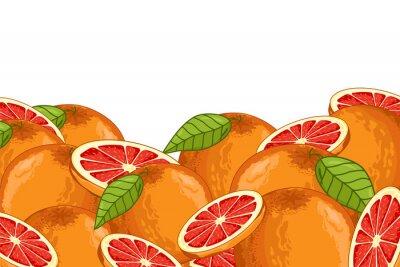 Sticker Grapefruit isoliert auf weißem Hintergrund. Grapefruit Zusammensetzung, Pflanzen und Blätter. Bio-Lebensmittel. Grapefruit-Raster.