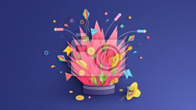 Graphic design for Festa Junina festival. Bonfire art with decorations in the Festa Junina festival design on paper art style. vector, illustration.