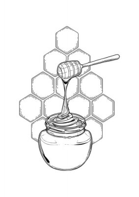Sticker Graphic meadow honey flowing from the stick to the bottle