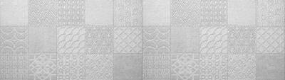 Sticker Gray bright vintage retro geometric square mosaic motif  cement concrete tiles texture background banner panorama