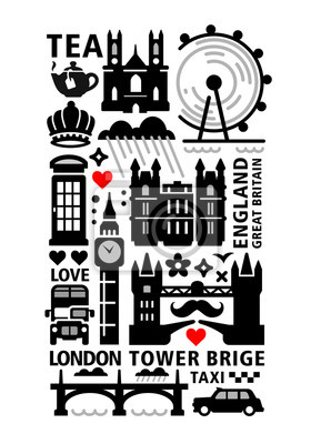 Great Britain, London icons set for design or postcard