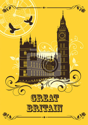Great Britain. Set of abstract illustrations with london architecture. Vintage postcard. Big Ben. Palace of Westminster. Vector.