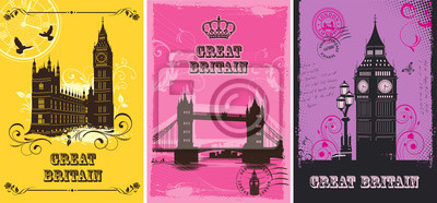 Great Britain. Set of abstract illustrations with london architecture. Vintage postcard. Big Ben. Tower bridge. Palace of Westminster. Vector.