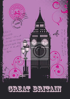 Great Britain. Set of abstract illustrations with london architecture. Vintage postcard. Big Ben. Vector.