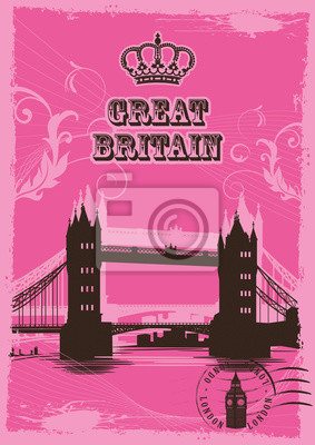 Great Britain. Set of abstract illustrations with london architecture. Vintage postcard. Tower bridge. Vector.