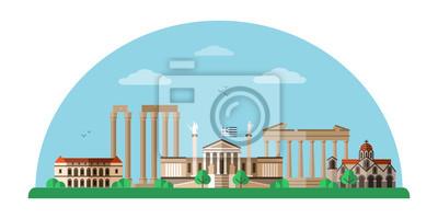 Greece world famous landmarks flat illustration