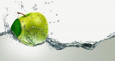 Sticker Green Apple unter Wasser spritzt.