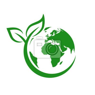 Sticker Green earth, World Environment Day, concept of saving the planet – stock vector