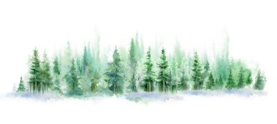 Sticker Green landscape of foggy forest, winter hill. Wild nature, frozen, misty, taiga. watercolor background