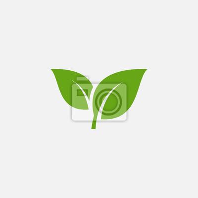 Sticker Green leaf ecology nature element vector icon, Leaf Icon, green leaf ecology nature element vector