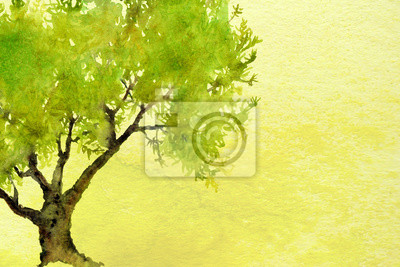green ombre watercolor landscape background texture with tree
