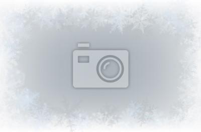 Sticker Grenze der verschiedenen Schneeflocken auf hellgrauem Hintergrund.