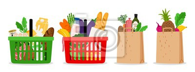 Sticker Grocery food basket. Eco shopping bags and baskets with food. Vector supermarket illustration