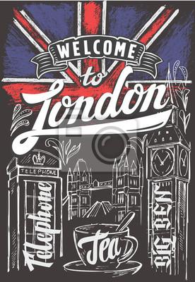 Großbritannien flagge und london