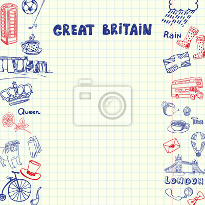 Großbritannien nationalen Symbole. Englisch kulturelle, historische, architektonische, Traditionen verwandte Doodles auf Seiten der quadratischen Papier Blatt mit Kopie Raum Vektor-Illustration gezeic
