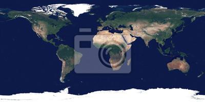 Großes und detailliertes hochauflösendes Foto der Erde. Textur der Erdoberfläche. Satellitenbild von Planet Erde. Vollständige Weltkarte.