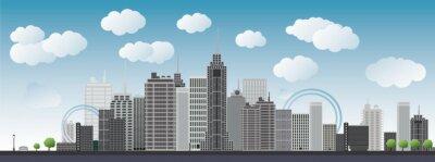 Großstadt mit Wolkenkratzern