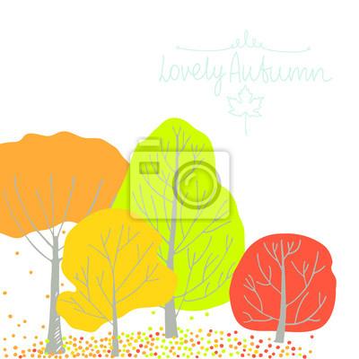Group autumn trees