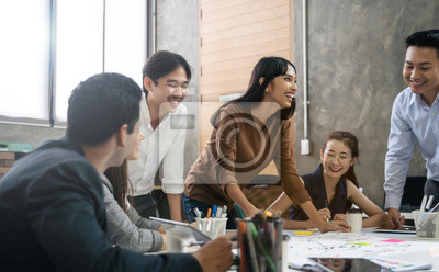 Sticker Group of Asian business people team meeting in modern office working design planning and ideas concept