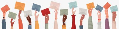 Sticker Group of multi-ethnic business people with raised arms holding an envelope. Colleagues or co-workers or friends.Diverse races and cultures. Email exchange.Share messages and information