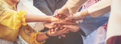 Sticker Group of people diversity multiethnic teamwork collaboration team meeting communication  Unified team concept. Business people hands together diversity multiethnic diverse culture partner team meeting
