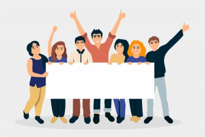 Group of people holding placard flat illustration