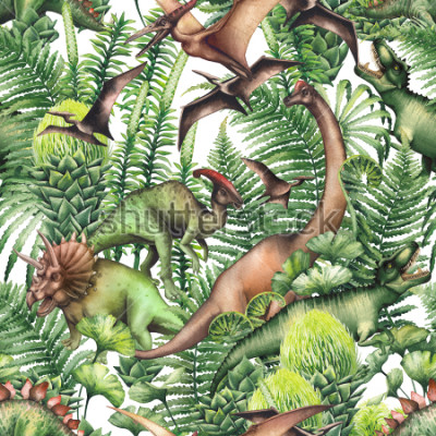 Sticker Group of realistic watercolor dinosaurs surrounded by lush prehistoric plants. Animals of Jurassic period. Hand painted seamless pattern