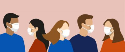 Sticker Group of simple flat design people with face masks, protection from disease or pollution